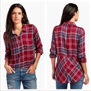 Lucky Brand Red Plaid Split Back Shirt NWT